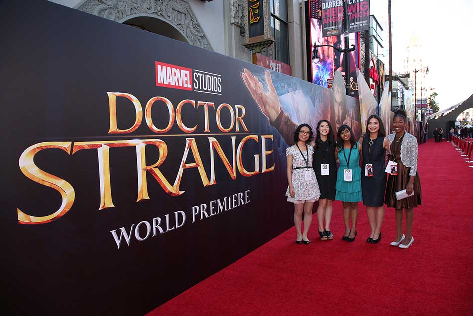 Maggie Chen with group at Doctor Strange World Premier